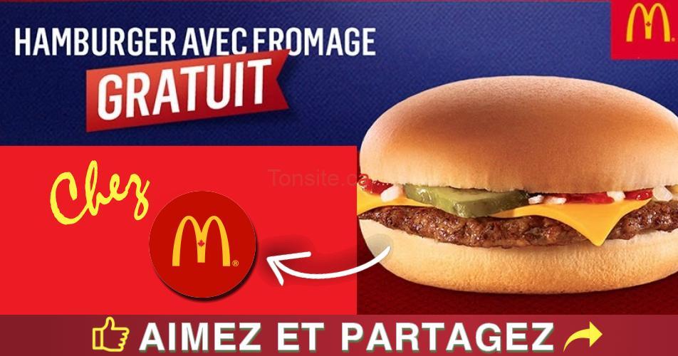 hamburger gratuit - Mc Donald's: Obtenez un Hamburger avec fromage gratuit