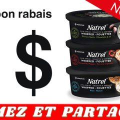 natrel fouette coupon 240x240 - Coupon rabais de 1$ sur une trempette et tartinade fouettée Natrel 250g