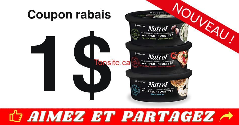 natrel fouette coupon - Coupon rabais de 1$ sur une trempette et tartinade fouettée Natrel 250g
