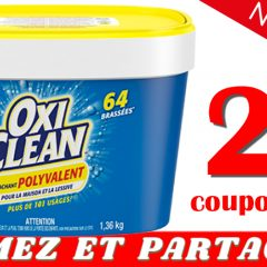 oxyclean detachant coupon2 240x240 - Coupon rabais caché de 2$ sur tout détachant Oxyclean