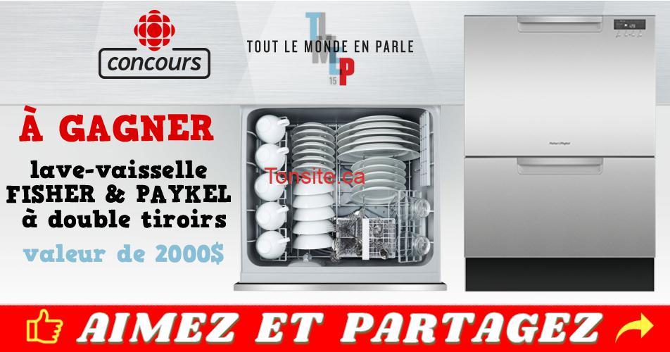 rc concours - Gagnez ce magnifique lave-vaisselle FISHER & PAYKEL à double tiroirs (valeur de 2000$)