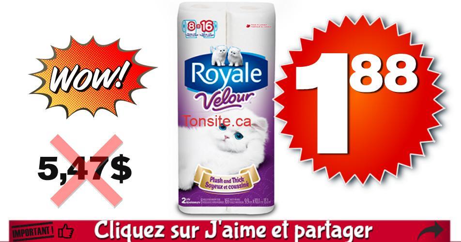 royale velour 188 547 - Emballage de 8 rouleaux doubles de papier hygiénique Royale Velour à 1,88$ au lieu de 5,47$