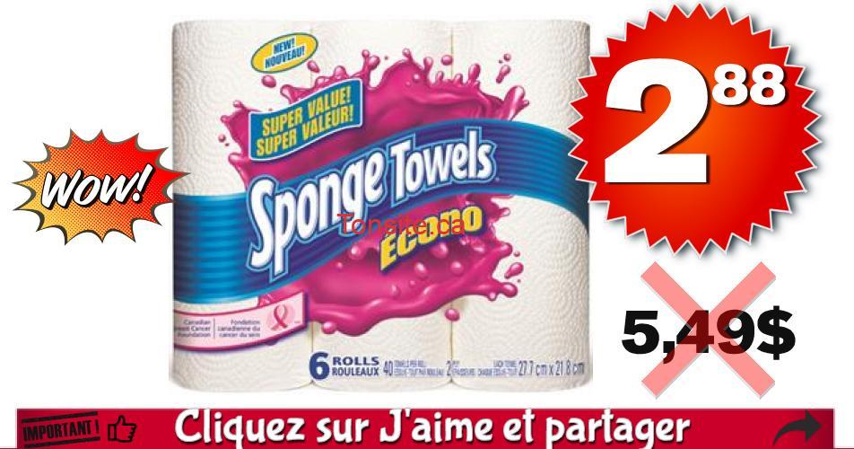 sponge towels econo 288 549 - Emballage de 6 rouleaux d'essuie-tout Sponge Towels Econo à 2,88$ au lieu de 5,49$