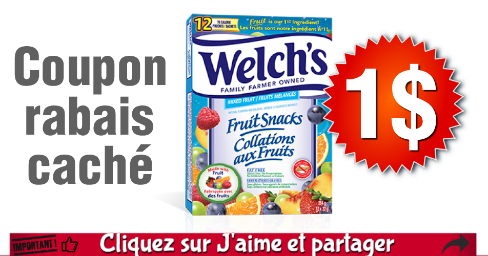 welchs coupon - Coupon rabais de 1$ sur une boîte de collations aux fruits de Welch's ou de collations aux fruits et au yogourt de Welch's