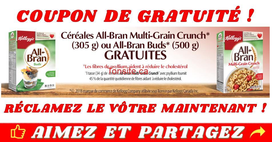 all bran gratuit1 - Coupon de gratuité sur un produit Kellogg's All Bran Multi-Grain Grunch ou All-Bran Buds