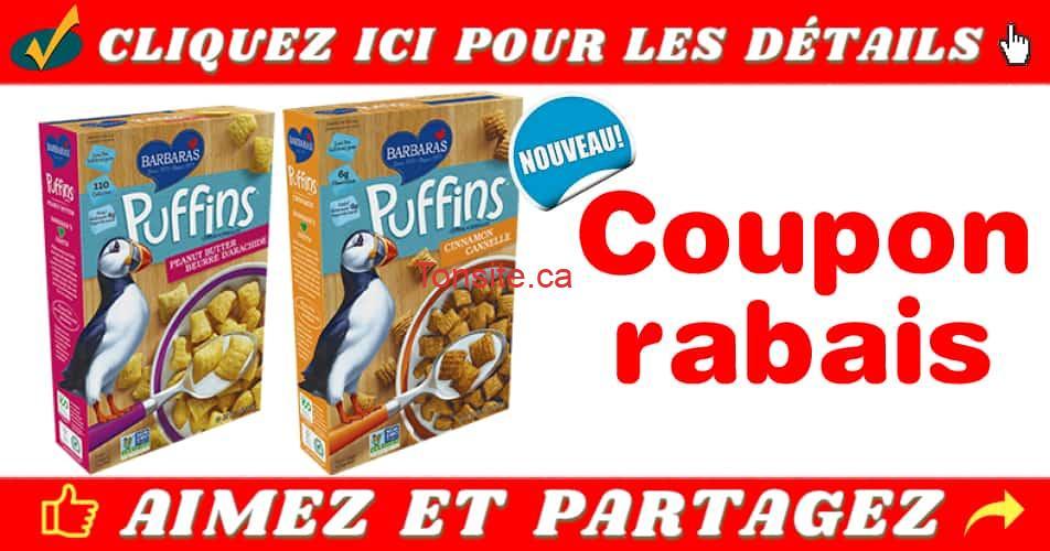 barbara puffins coupon - Coupon rabais de 1$ sur une boîte de céréales Barbara's Puffins, au choix