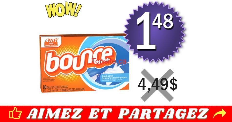 bounce 148 449 off - Feuilles assouplissantes Bounce (80 unités) à 1,48$ au lieu de 4,49$