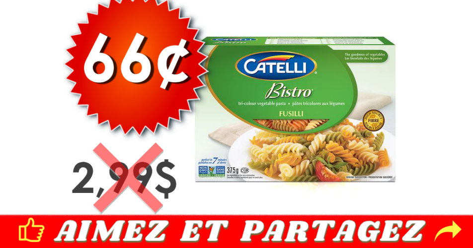 catelli bistro 66 299 off - Pâtes alimentaires Catelli Bistro à 66¢ au lieu de 2.99$