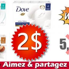 dove pain 2 549 240x240 - Emballage de 4 pains de savon Dove à 2$ au lieu de 5,49$