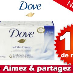 dove pain coupon 1 off 240x240 - Coupon rabais caché de 1$ sur un emballage de 4 pains de savon Dove