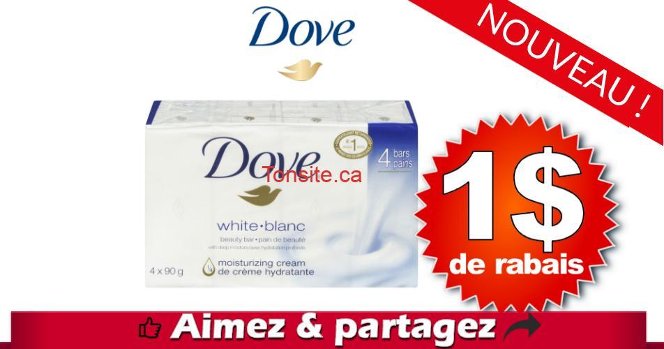 dove pain coupon 1 off - Coupon rabais caché de 1$ sur un emballage de 4 pains de savon Dove