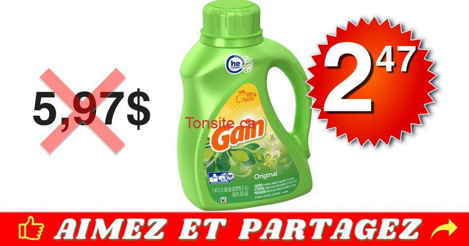 gain 247 597 - Détergent à lessive liquide Gain à 2,47$ au lieu de 5,97$