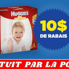 huggies coupon 10 240x240 - Coupon rabais de 10 sur un emballage Huggies Little Snugglers ou Huggies Little Movers Club Pack Plus ou Huggies Snug & Dry Club Pack Plus