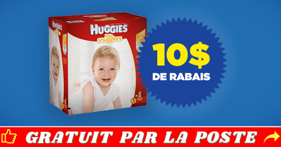 huggies coupon 10 - Coupon rabais de 10 sur un emballage Huggies Little Snugglers ou Huggies Little Movers Club Pack Plus ou Huggies Snug & Dry Club Pack Plus