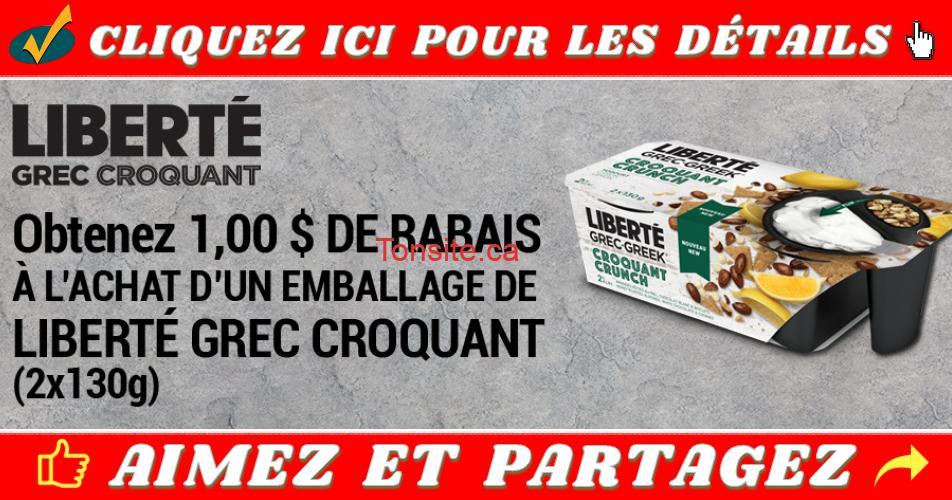 liberte coupon - Coupon rabais de 1$ sur un emballage de Liberté Grec Croquant (2x130g) à imprimer ou par la poste