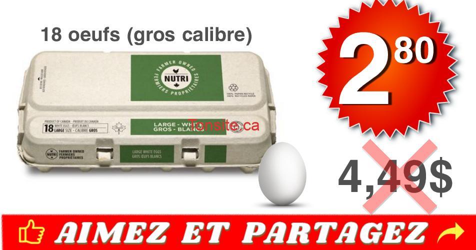 oeufs 18 280 449 - Emballage de 18 oeufs blancs (Gros Calibre) à 2,80$ au lieu de 4,49$