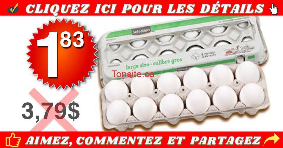 oeufs 183 379 - Douzaine d'oeufs (gros calibre) à 1,83$ seulement!