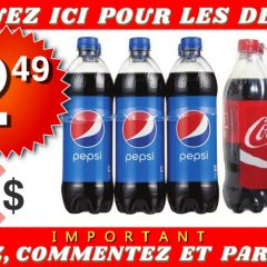 pepsi coca 249 off 240x240 - 6 bouteilles de Pepsi ou Coca Cola (710 ml) à 2.49$ seulement!