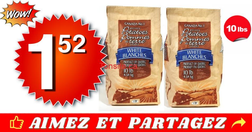 pommes de terre 152 - Sac de 10 livres de pommes de terre à 1,52$ au lieu de 4,99$