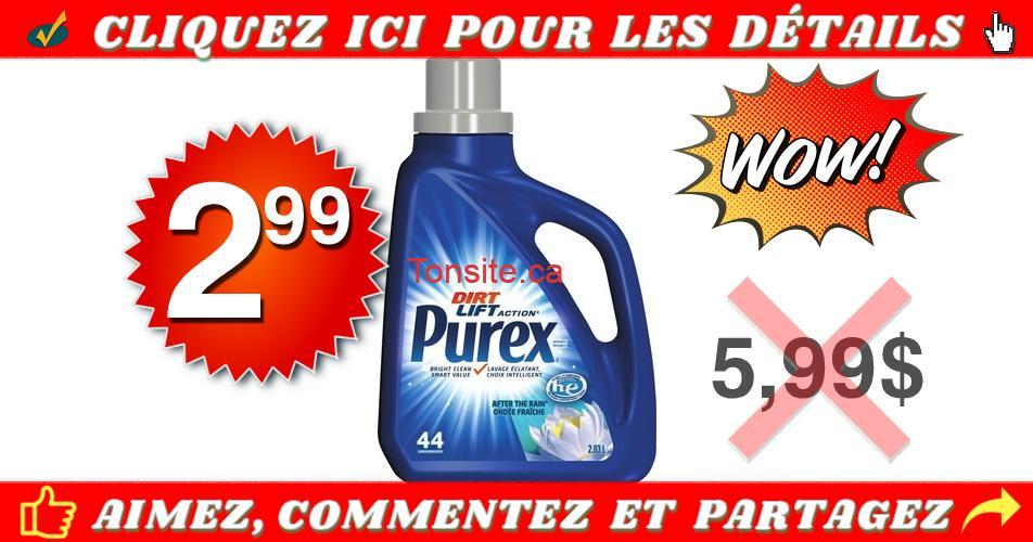 purex 299 599 - Détergent pour la lessive Purex (44 brassées) à 2,99$ au lieu de 5,99$