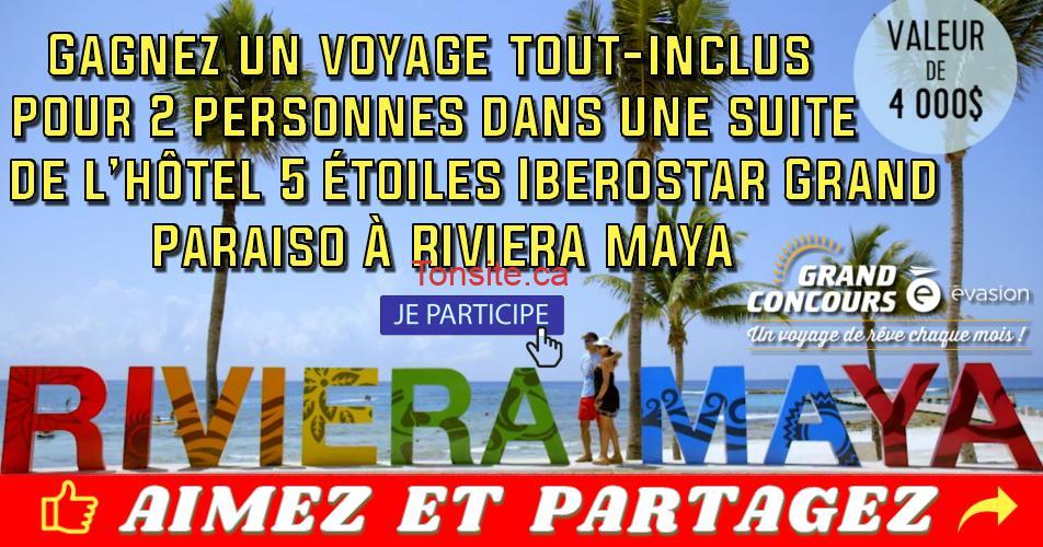 riviera maya concours2 1 - Gagnez un voyage tout-inclus pour 2 dans une suite de l'hôtel 5 étoiles Iberostar Grand Paraiso à Riviera Maya
