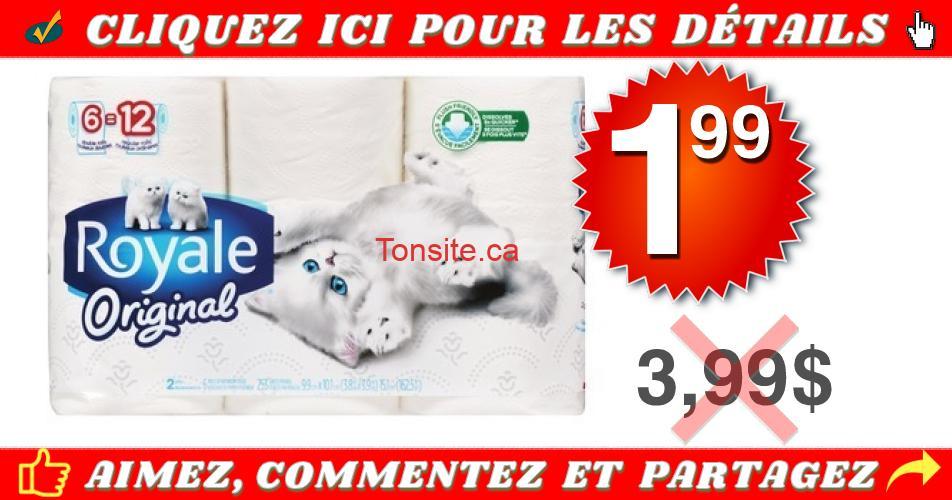 royale original 199 399 1 - Emballage de 6 rouleaux doubles de papier hygiénique Royale Original à 1,99$ au lieu de 3,99$