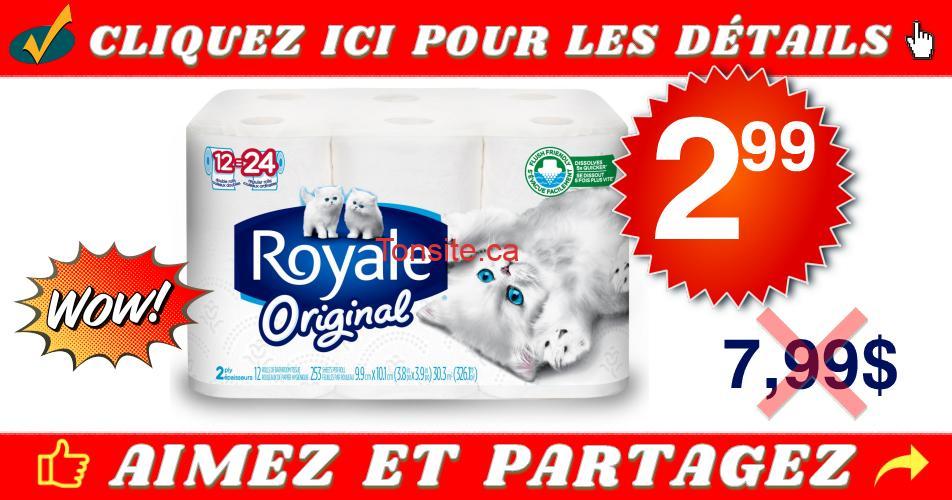 royale original 299 799 - Emballage de 12 rouleaux doubles de papier hygiénique Royale Original à 2,99 au lieu de 7,99$