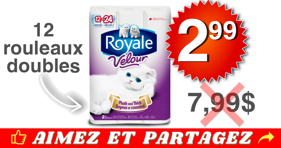 royale velour 299 799 off - Emballage de 12 rouleaux de papier hygiénique Royale Velour à 2,99$ au lieu de 7,99$