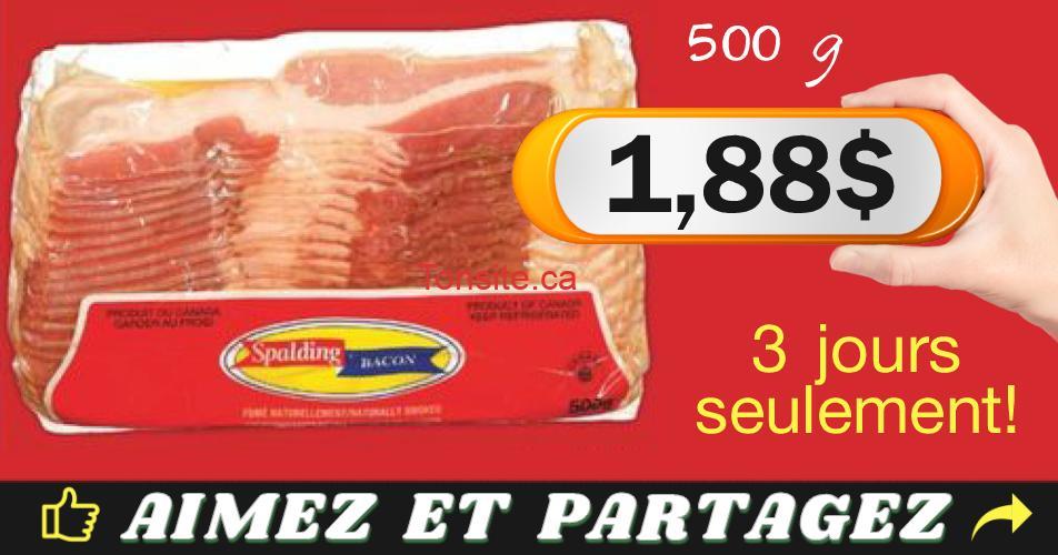 spalding 188 - Emballage de bacon Spalding (500g) à 1,88$ au lieu de 5$