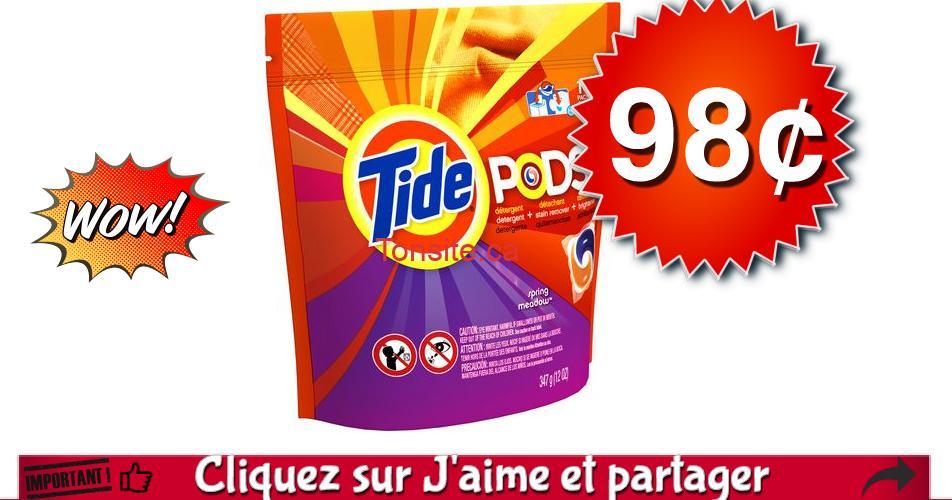 tide pods 98 off - Paquet de 13 capsules Tide Pods à 98¢ au lieu de 6,99$