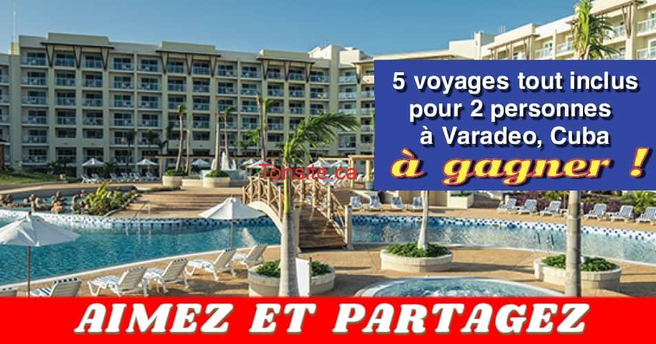 varadero concours - Gagnez 1 des 5 voyages d'une semaine en formule tout inclus pour 2 personnes à Varadero, Cuba
