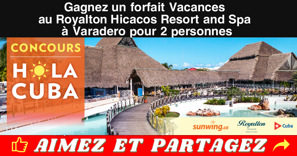 varadero concours2 - Gagnez un forfait Vacances au Royalton Hicacos Resort and Spa à Varadero, Cuba pour 2 personnes