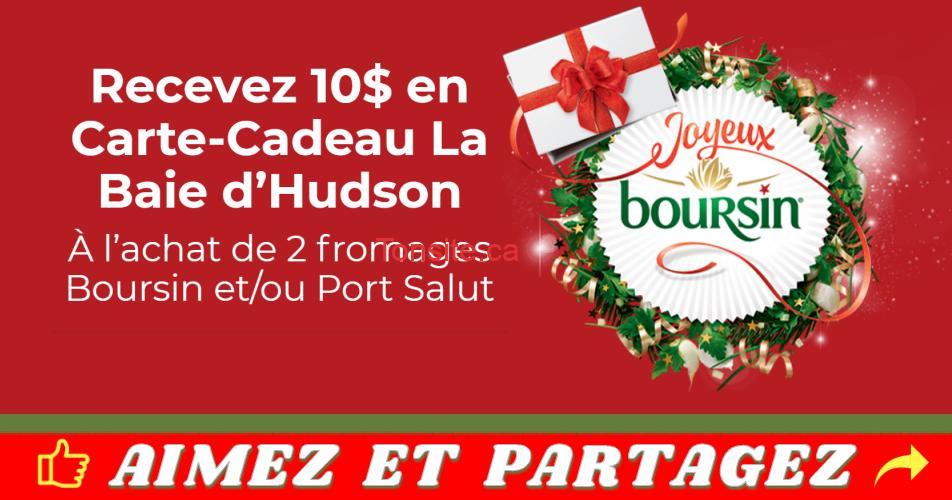 boursin promo - Recevez 10$ en carte-cadeau La Baie d'Hudson