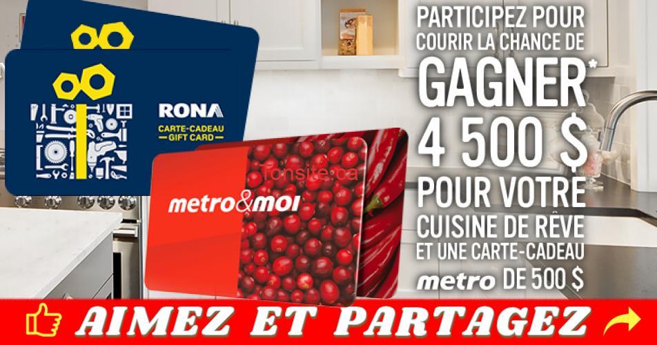 concours metro rona - Gagnez une carte-cadeau Rona de 4500$ ainsi qu'une carte-cadeau Metro de 500$