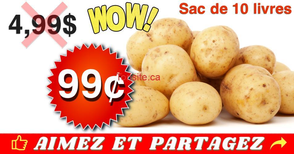 patates 99 499 - Sac de pommes de terre de 10 livres à 99¢ au lieu de 4,99$ (sans coupon)