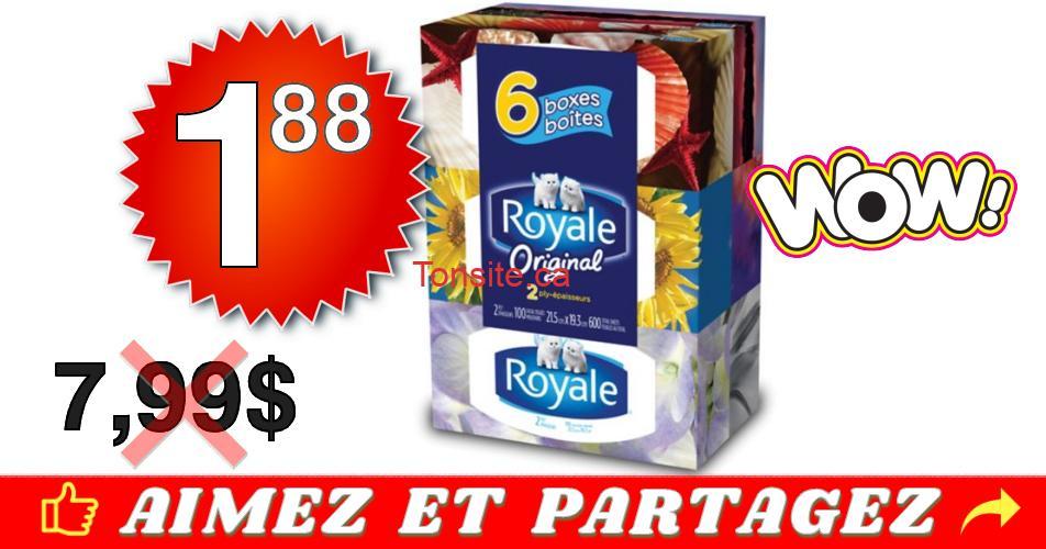 royale mouchoirs 188 799 - Emballage de 6 boîtes de papier mouchoirs Royale à 1,88$ au lieu de 7,99$