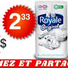 royale original 233 547 240x240 - Emballage de 8 rouleaux doubles de papier hygiénique Royale à 2.33$ au lieu de 5,47$