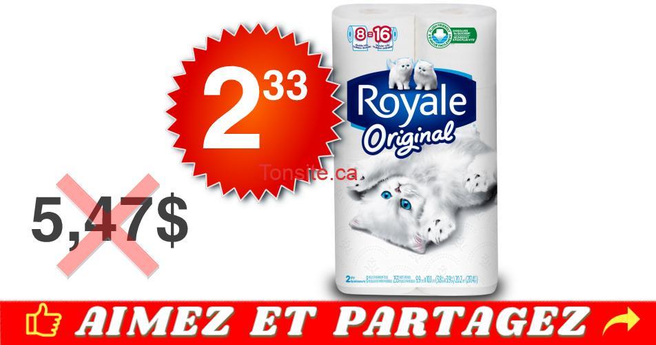 royale original 233 547 - Emballage de 8 rouleaux doubles de papier hygiénique Royale à 2.33$ au lieu de 5,47$