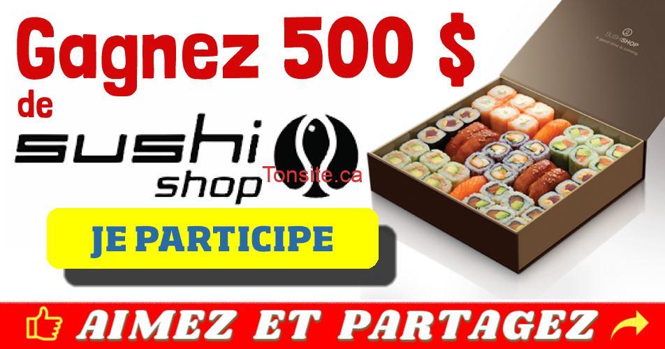 sushishop concours500 - Gagnez 500$ de Sushi Shop !