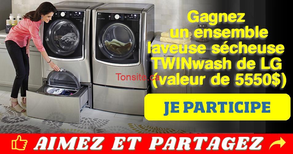 twinwash concours - Gagnez un ensemble laveuse sécheuse TWINwash de LG (valeur de 5550$)