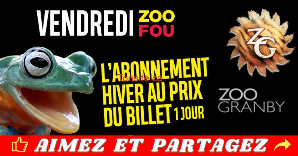zoo granby vendredi fou - Vendredi fou chez Zoo Granby: L'abonnement Hiver au prix du billet