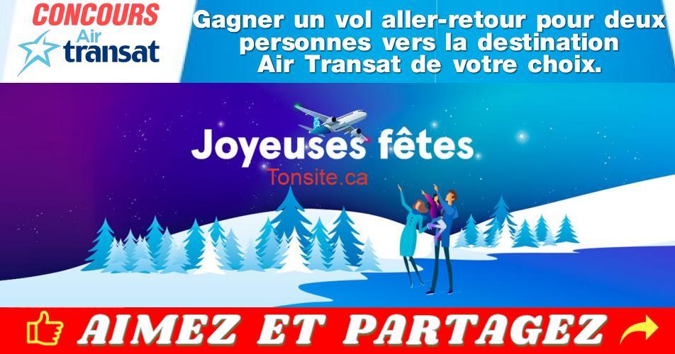 air transat concours5 - Gagnez un vol aller-retour pour deux personnes vers la destination Air Transat de votre choix.