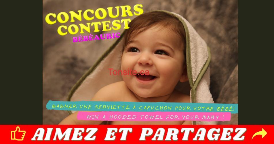 bebeauric concours - 5 serviettes à capuchon BébéAuric à GAGNER !