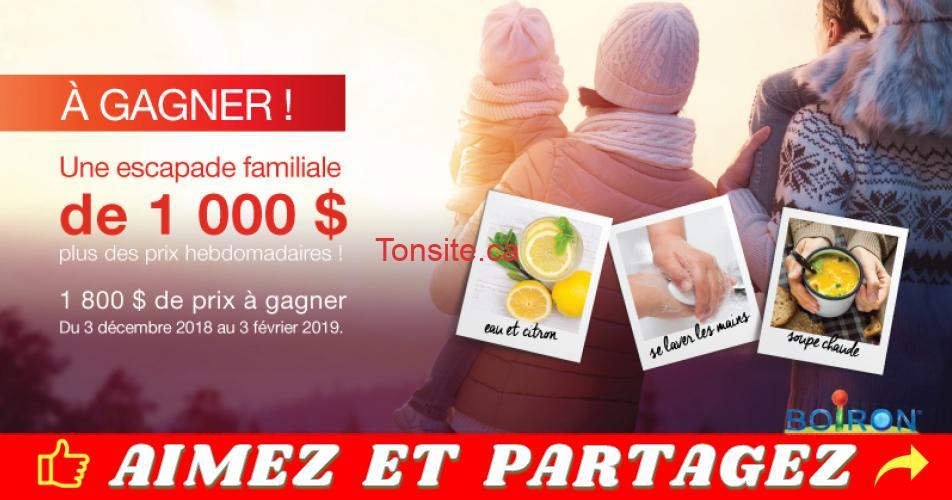 boiron concours - Gagnez une escapade familiale d'une valeur de 1000$ ou 1 des 8 prix de 100$