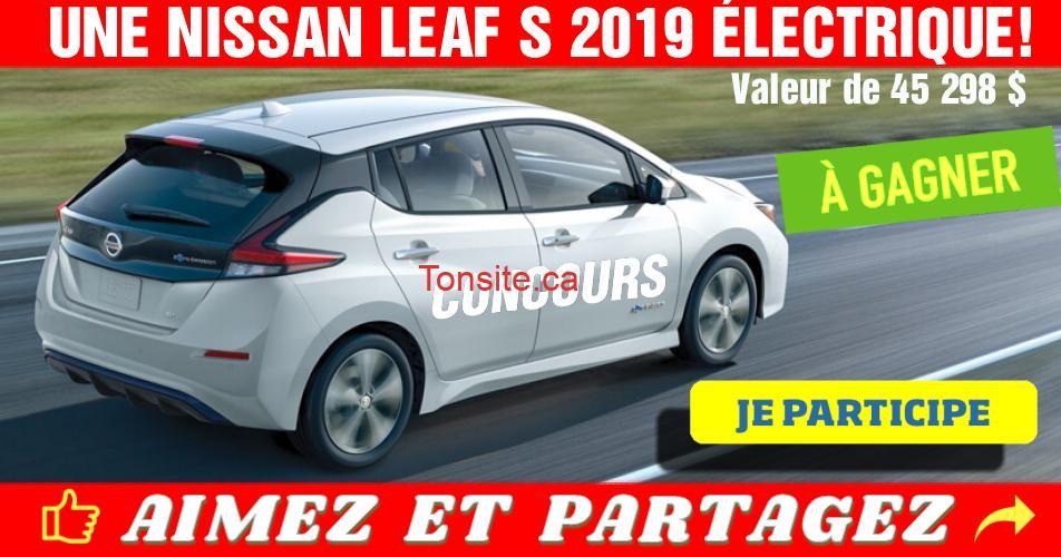 lacapitale nissan concours - Concours La Capitale: Gagnez une Nissan Leaf S 2019 électrique (valeur de 45 298$)