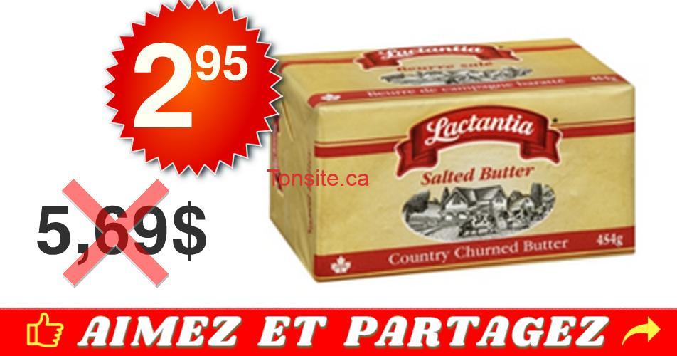 lactantia beurre 295 569 - Beurre salé Lactantia à 2,95$ au lieu de 5,69$ (sans coupon)