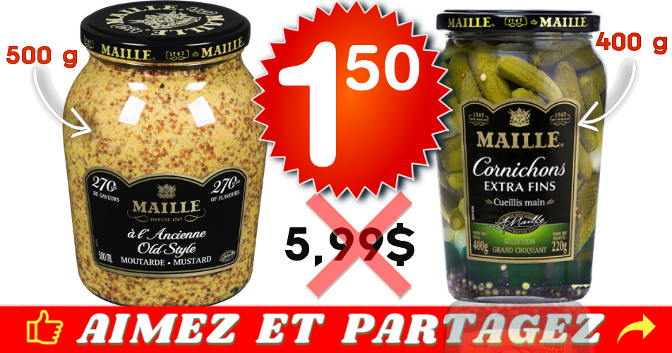maille 150 - Moutarde préparée ou cornichons Maille à 1,50$ au lieu de 5,99$
