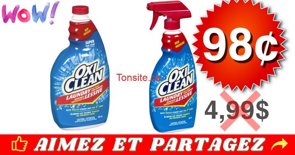 oxiclean 98 499 - Détachant à lessive Oxiclean à 98¢ au lieu de 4,99$