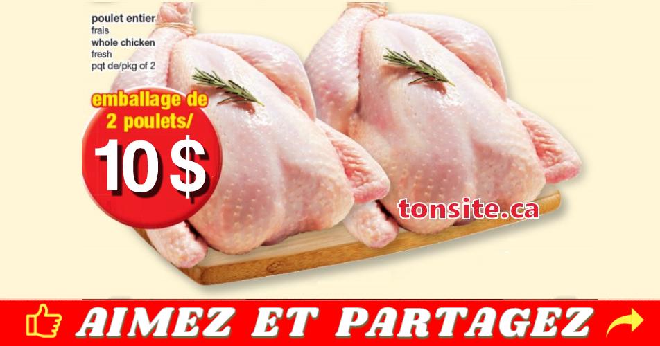 poulet 10 off - Emballage de 2 poulets entiers à 10$ seulement!