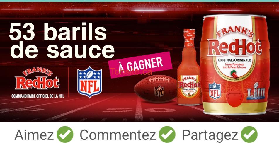 redhot concours - Gagnez 1 des 53 barils de sauce Frank's RedHot